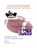 Gull Lake Lions vs Raymore Rebels